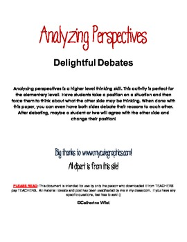 Analyzing Perspectives- Higher Level Thinking Skill