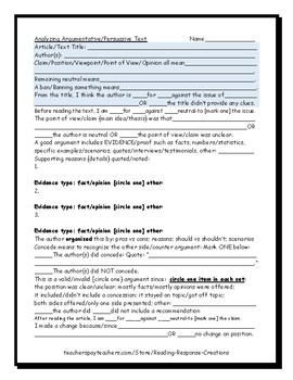 Analyzing Persuasive or Argumentative Text [Response page]