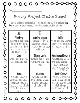 Analyzing Poetry Choice Board