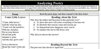 "Analyzing Poetry - ""Come Little Leaves"