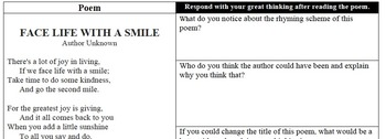 """Analyzing Poetry - """"Face Life with a Smile"""""""