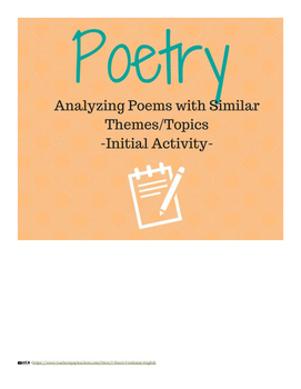Analyzing Poems with Similar Themes/Topics- Freshman