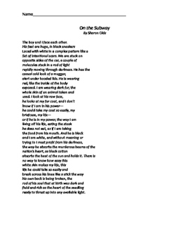"""Poetry- Analyzing """"On the Subway"""" poem about social class"""