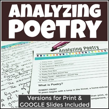 Analyzing Poetry Packet & Quiz with Analysis of Sample Poems