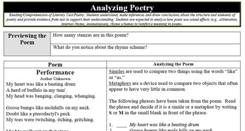"""Analyzing Poetry - """"Performance"""""""