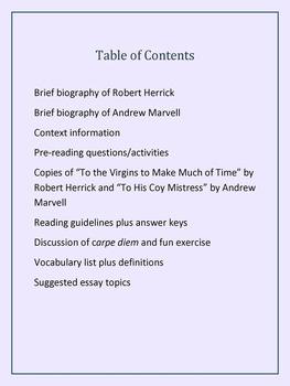 Poetry Analysis Andrew Marvell and Robert Herrick