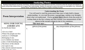 Analyzing Poetry Song For Young Americans