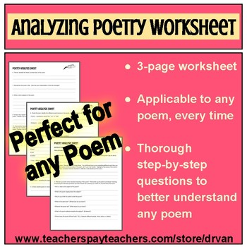 Analyzing Poetry Worksheet (Good for any poem!)