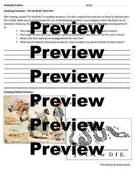 Analyzing Practice Worksheet for Middle & High School - Whole Class Activity