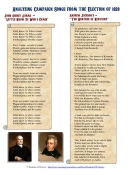 Analyzing President Andrew Jackson & John Quincy Adams' 1828 Election Songs