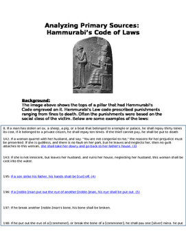 Analyzing Primary Sources: Hammurabi's Code (Babylon) and Mesopotamia worksheet
