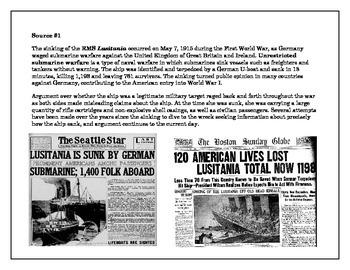 Analyzing Primary Sources- Lusitania & Zimmerman Telegram