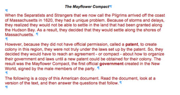 Analyzing Primary Sources The Mayflower Compact