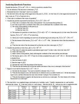 Analyzing Quadratic Functions (Editable)