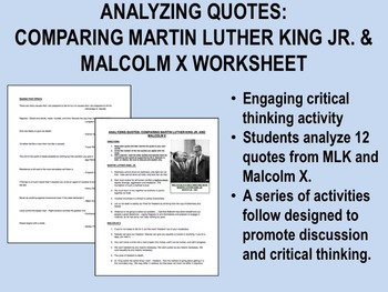 Analyzing Quotes: Comparing Martin Luther King Jr. and Malcolm X