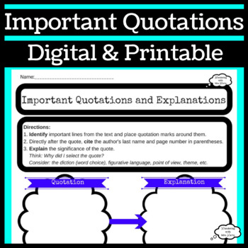 Analyzing Quotes Graphic Organizer for During or After Reading