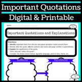 Analyzing Quotes Graphic Organizer