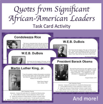 Analyzing Quotes of African-American Leaders Task Cards - Black History Month