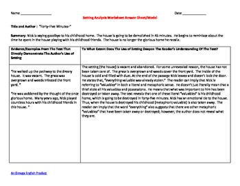 Analyzing Setting Bundle:  Handouts, Graphic Organizer, Mini-Lesson, and Model