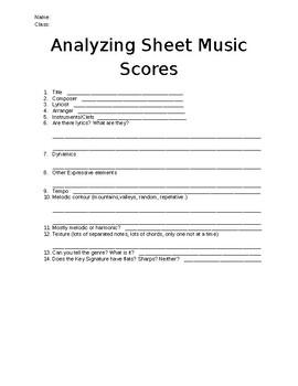 Analyzing Sheet Music Worksheet