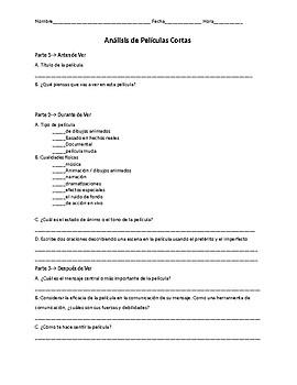 Spanish 3 Analyzing Short Films Peliculas Cortas Movie Guide w/ links