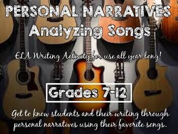 Analyzing Song Lyrics and Narrative Writing Activity