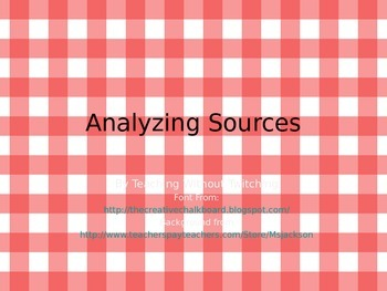 Analyzing Sources Activity Cards