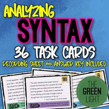 Analyzing Syntax in Literature Task Cards: Quizzes, Bell-Ringers, Worksheet