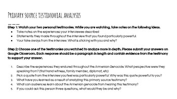 Analyzing Testimony from the Armenian Genocide Lesson Plan