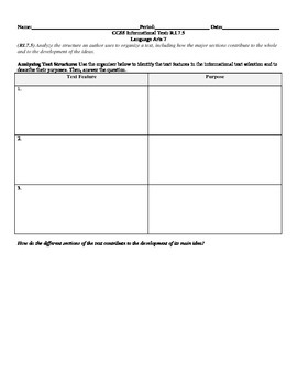 Analyzing Text Structure CCSS RI.7.5