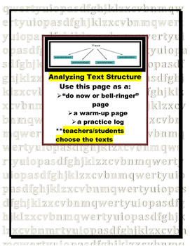 Analyzing Text Structure Warm-up or Do Now (log, bell-ringer, or practice page)