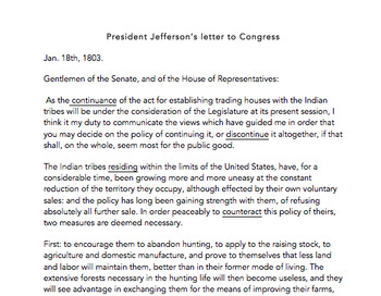 Analyzing Thomas Jefferson's letter to Congress
