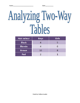 Analyzing Two-Way Tables