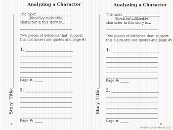 Analyzing a Character - Reader's Notebook Journal