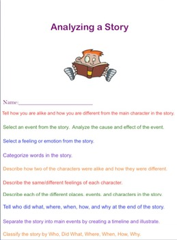 Bloom's Higher Level Thinking Skills Flip Book Analyzing a Story Using
