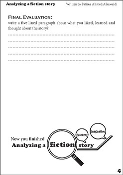 Analyzing a fiction story - fun and quick exercise to analyze fiction stories