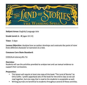 """Analyzing and Point of View - Reading/Writing """"The Land of Stories"""" Lesson Plans"""
