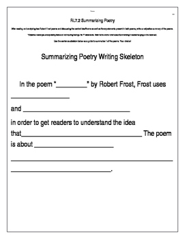 Analyzing and Summarizing Poetry Activity and Assessment