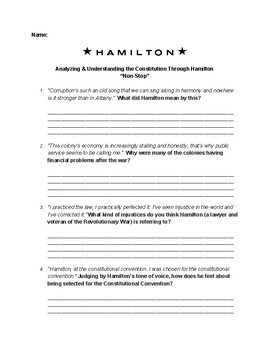 """Analyzing and Understanding the Constitution Through """"Non-Stop"""" from """"Hamilton"""""""