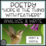 """Emily Dickinson """"Hope is the Thing with Feathers"""" Poetry Analysis Virtual Print"""