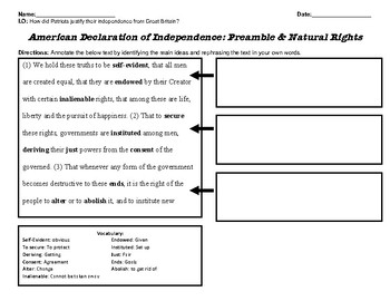 Analyzing the Declaration of Independence