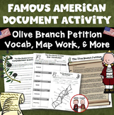 Analyzing the Olive Branch Petition Through Questions, Vocabulary, Map Activity