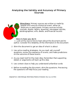 Analyzing the Validity and Accuracy of Primary Sources- helpful hints