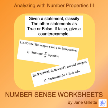 Analyzing with Number Properties III