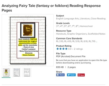 Fantasy Book Reports (bundle): Reading Response Pages
