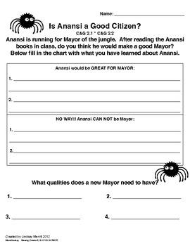 Anansi Citizenship Worksheet
