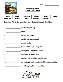 Anansi Goes Fishing Reading Street Vocabulary and Selection Test