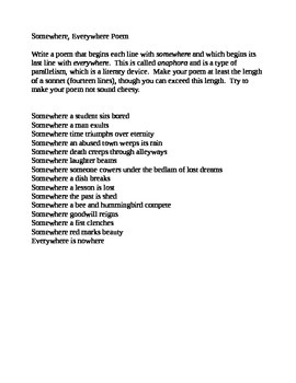 Anaphora form poem