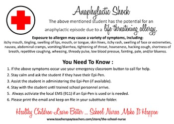 Anaphylactic Shock Health Information Card JPG