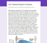 Science ACT Practice Passage- Anatomy Skeletal System- Bones and Menopause